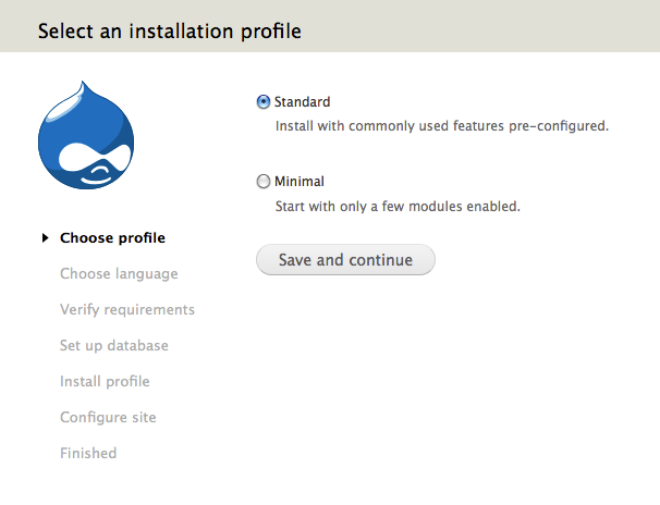 D7 installation - Choose profile