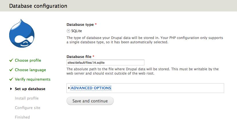 Drupal 7: Database Configuration, SQLite only